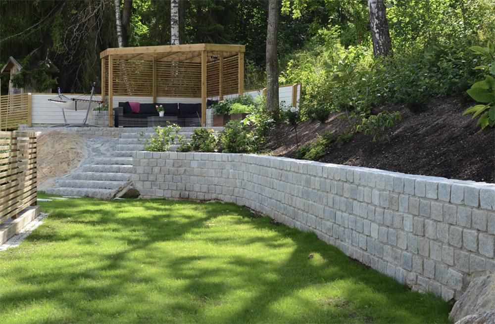 Trädgårds arbeten stensättning stenmur